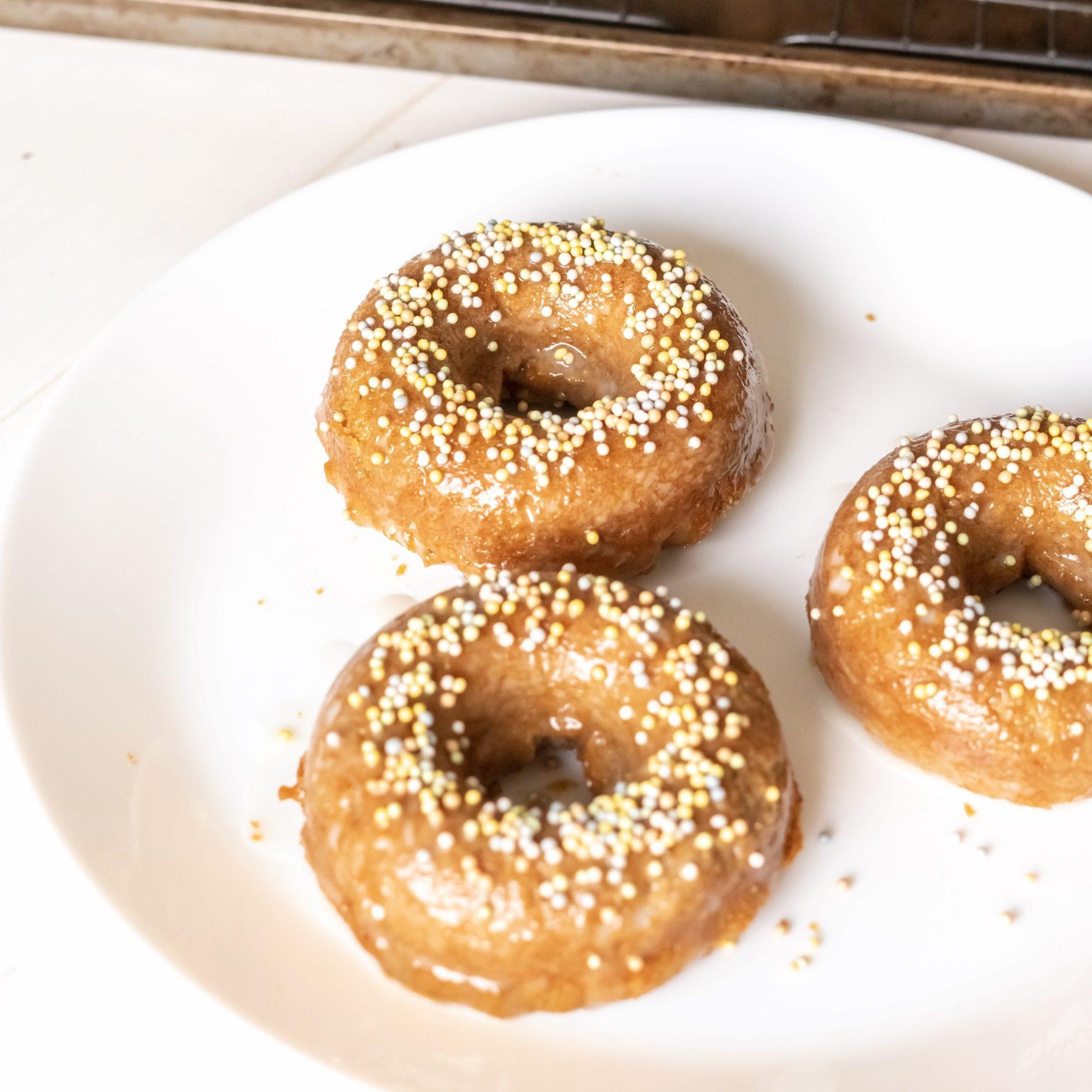 Gluten free pumpkin donut with sprinkles