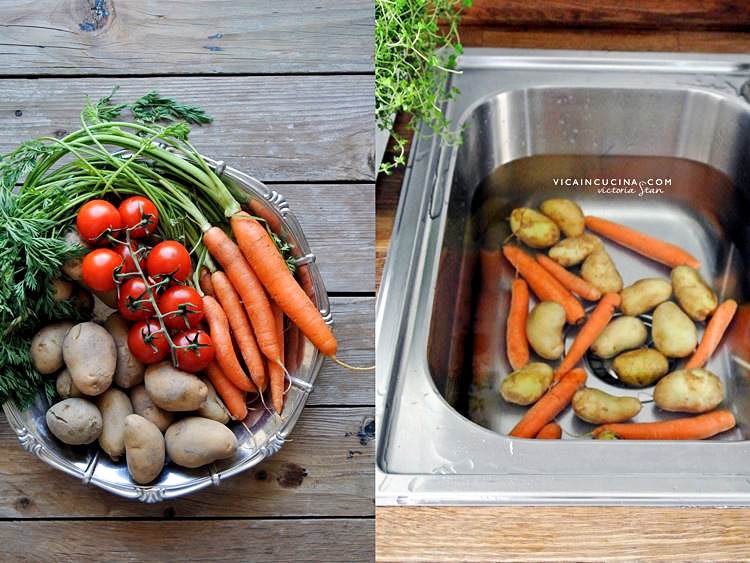Baked carrots and potatoes @vicaincucina