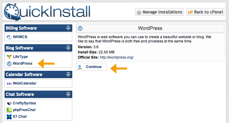 quickinstall passo 2