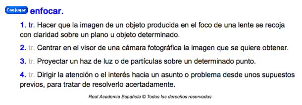 Definición académica de poner foco o enfocar.