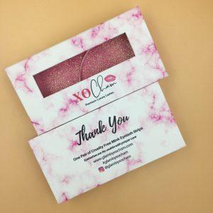 Custom White Eyelash Packaging with Pink Marble