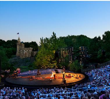 Apresentação de peça de Shakespeare no Central Park. Foto: http://www.shakespeareinthepark.org/