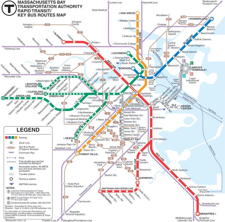 Mapa do metrô de Boston.