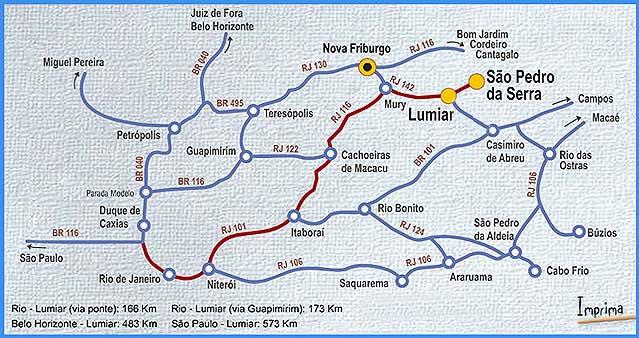 Mapa para Lumiar e São Pedro da Serra. Fonte: www.lumiarsaopedrodaserra.com.br