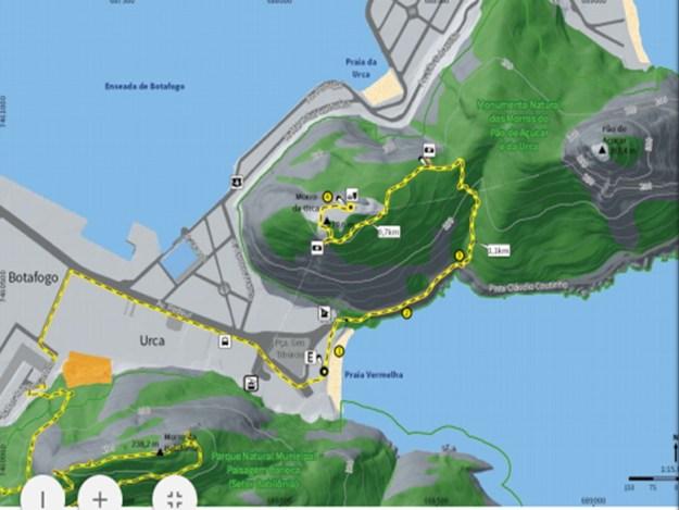 mapa trilha morro da urca