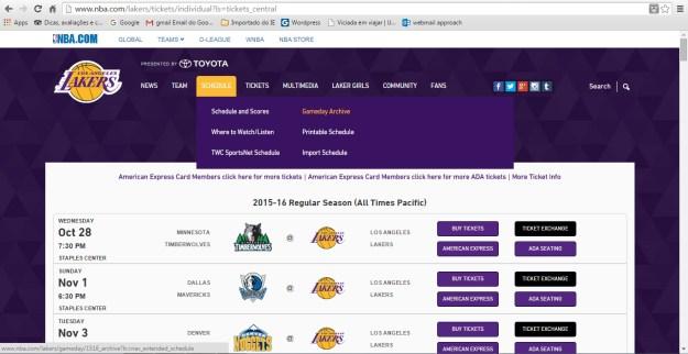 É fácil comprar ingressos para jogos dos Lakers pelo site