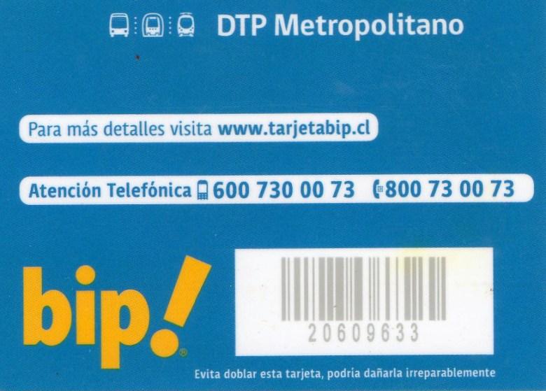 Cartão BIP! do metrô de Santiago.
