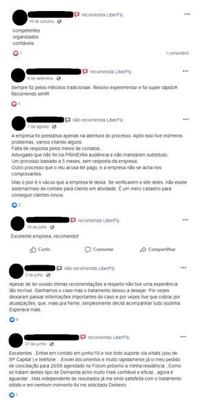 liberfly avaliações clientes facebook