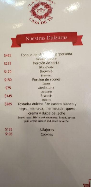 cardapio casa de té restaurantes em ushuaia