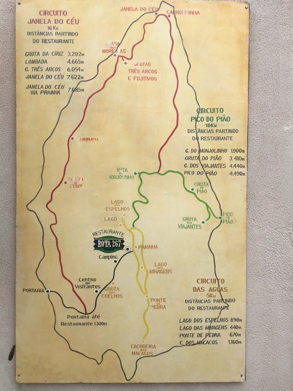 Mapa do parque onde ficar em ibitipoca