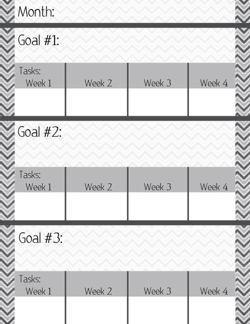 monthly goal sheet post