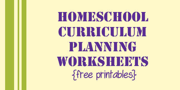 Homeschool Curriculum Planning Pages Free Printable
