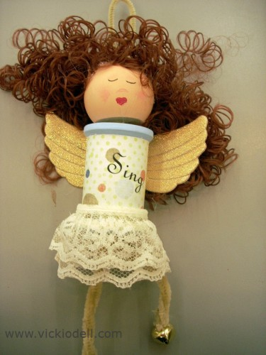 Mixed Media Spool Angels