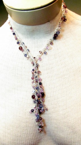 Easy to Make Jewelry - Chain and Crystal Lariat and Earrings - Simple loops and Swarovski Crystals