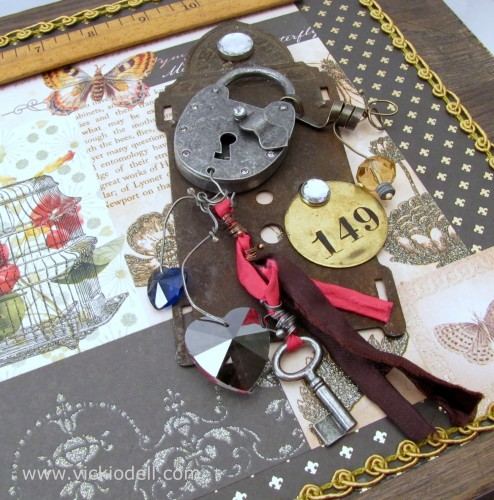 Mixed Media Box, industrial chic elements, vintage finds
