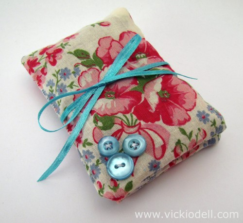 vintage hanky sachet, finished sachet with buttons and ribbon, lavender sachet