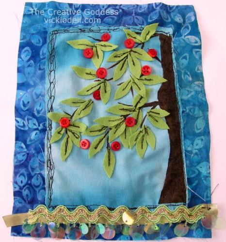 Apple Trees Gratitude Flag - Mixed Media Fabric Collage