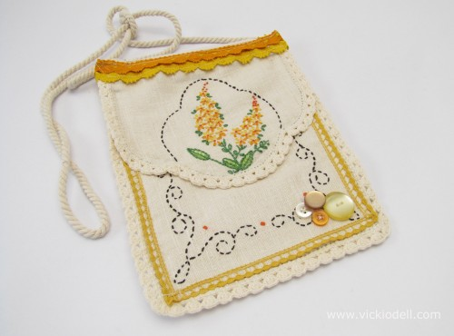 Small Bag Embellished with Vintage Linens and Trim