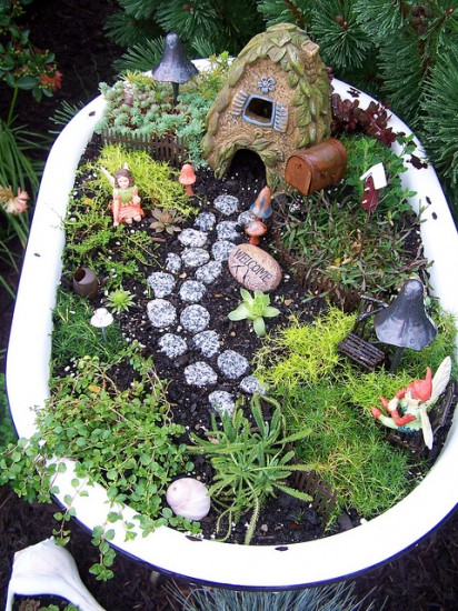 Bathtub Fairy Garden