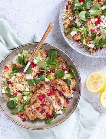 Kalfsribeye met een couscous salade van granaatappel, feta & munt