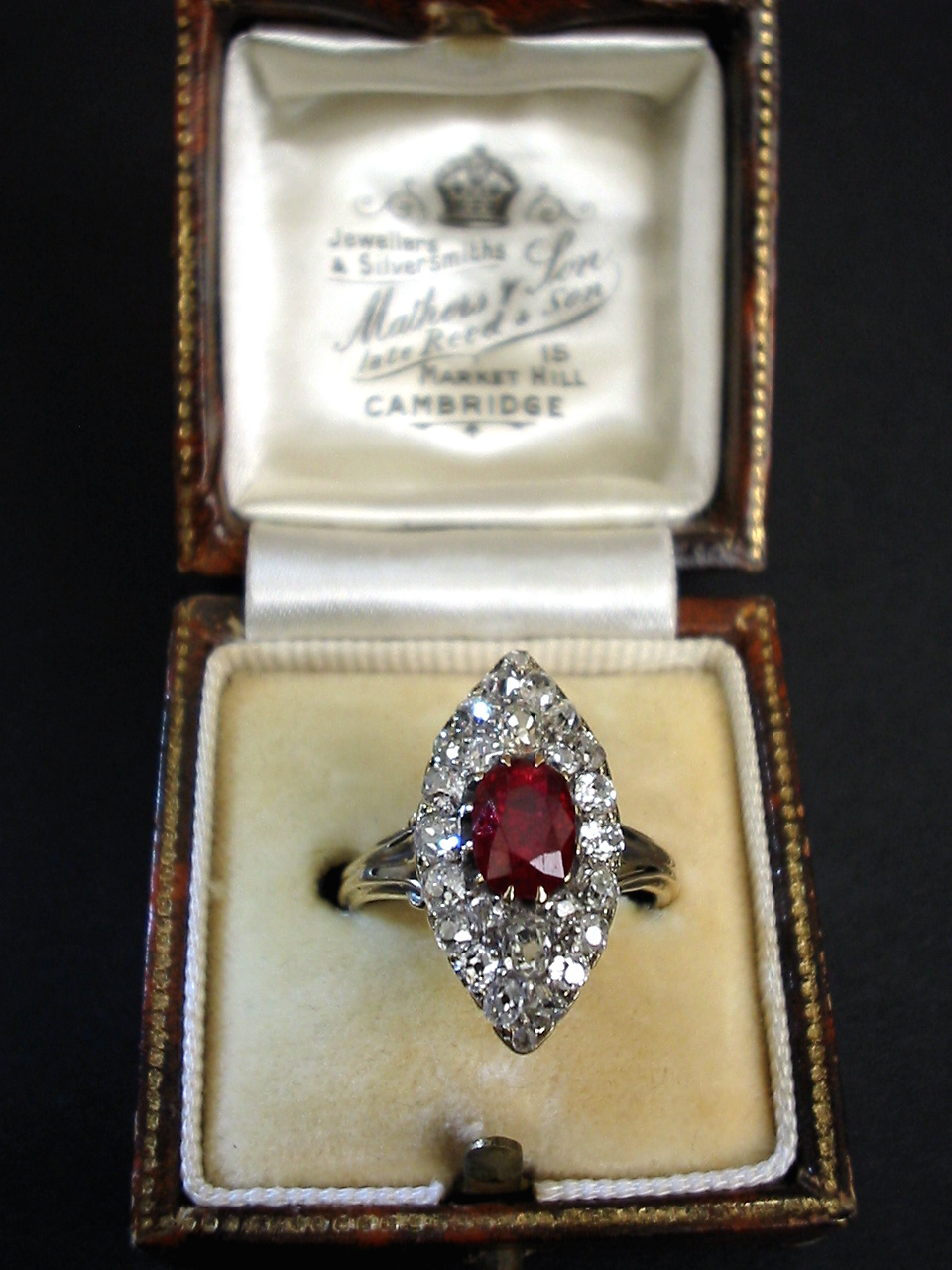 Victorian Marquise shaped 15 carats Diamond and 12 carat