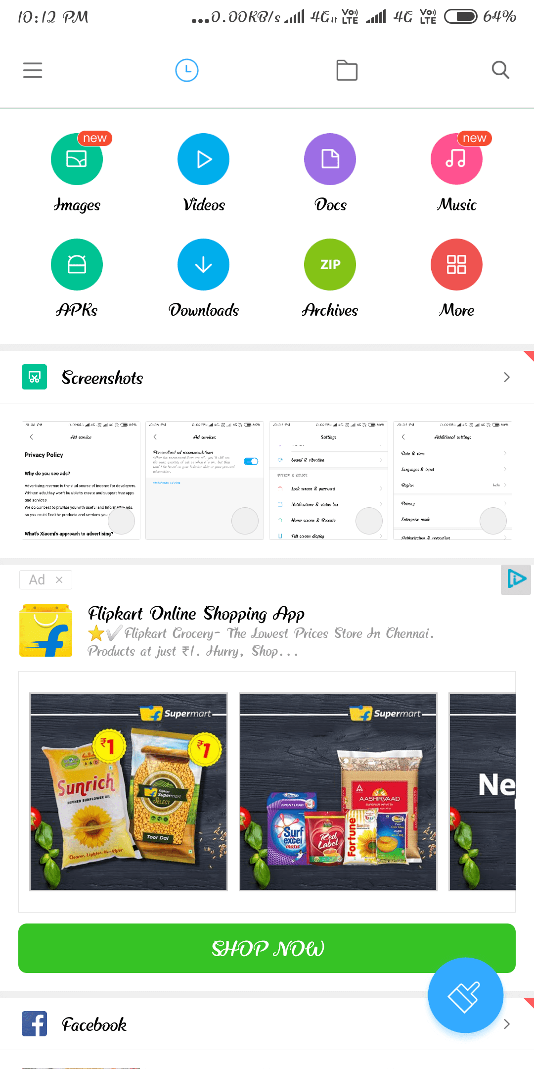 Xiaomi placed ads in File manager application