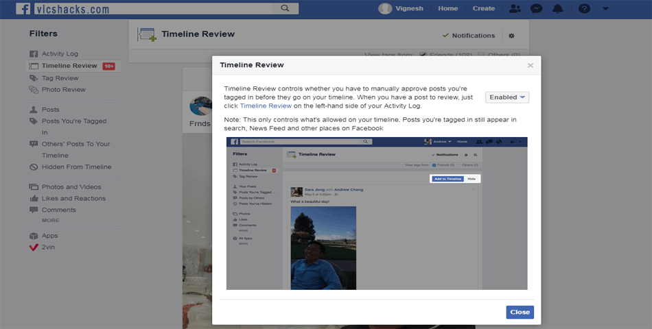 Protect Facebook TimeLine from Post & Photo's tagging via TimeLine Review