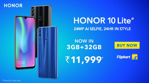 Honor launched Honor 10Lite 3GB + 32GB memory variant for Rs. 11,999