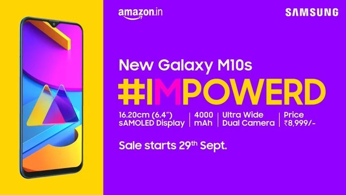 Samsung Galaxy M10s price at Rs. 8,999: Full Specs & Features