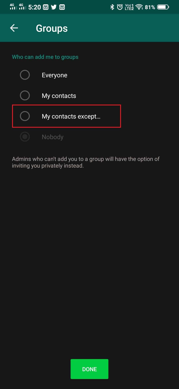 WhatsApp group privacy update