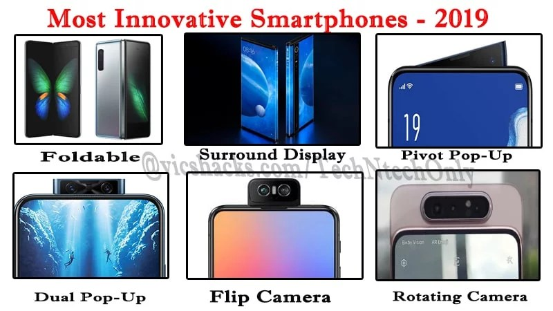 2019 Most Innovative Smartphones (Foldables, Surround Display, Rotating camera, Flip Camera, & Dual Pop-Up)