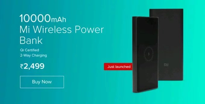 Mi Wireless Power bank 10000mAH launched in India for Rs. 2,499