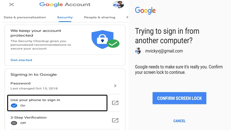 How to Sign-in Google Account without Password & New Update from March'18