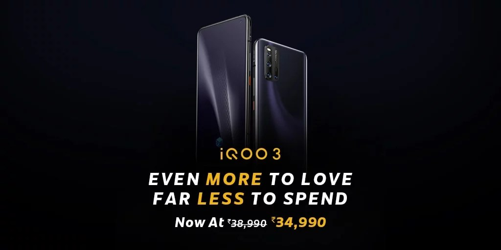iQOO 3 mobile price cut upto Rs. 4000 (New Price Details)