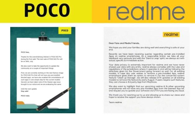 POCO & Realme confirmed removal of banned China Apps via OTA