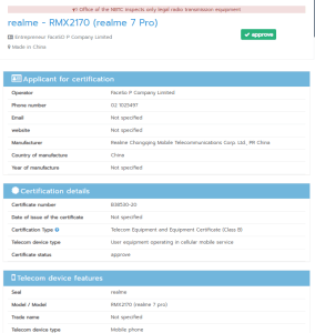 realme 7 pro RMX2170 BIS certification