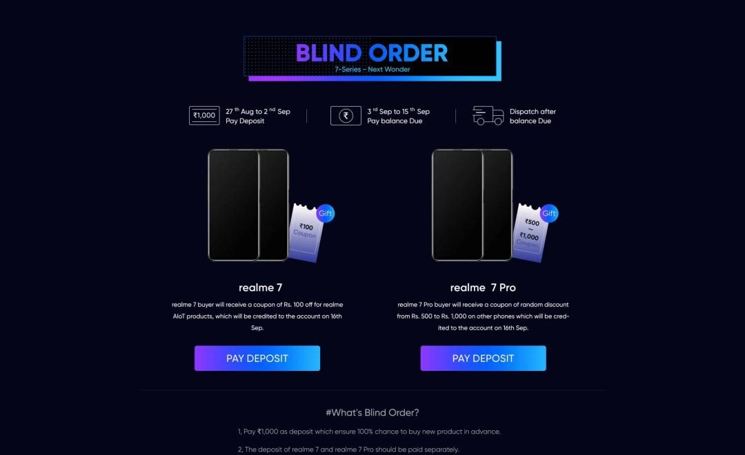 realme 7 series blind order