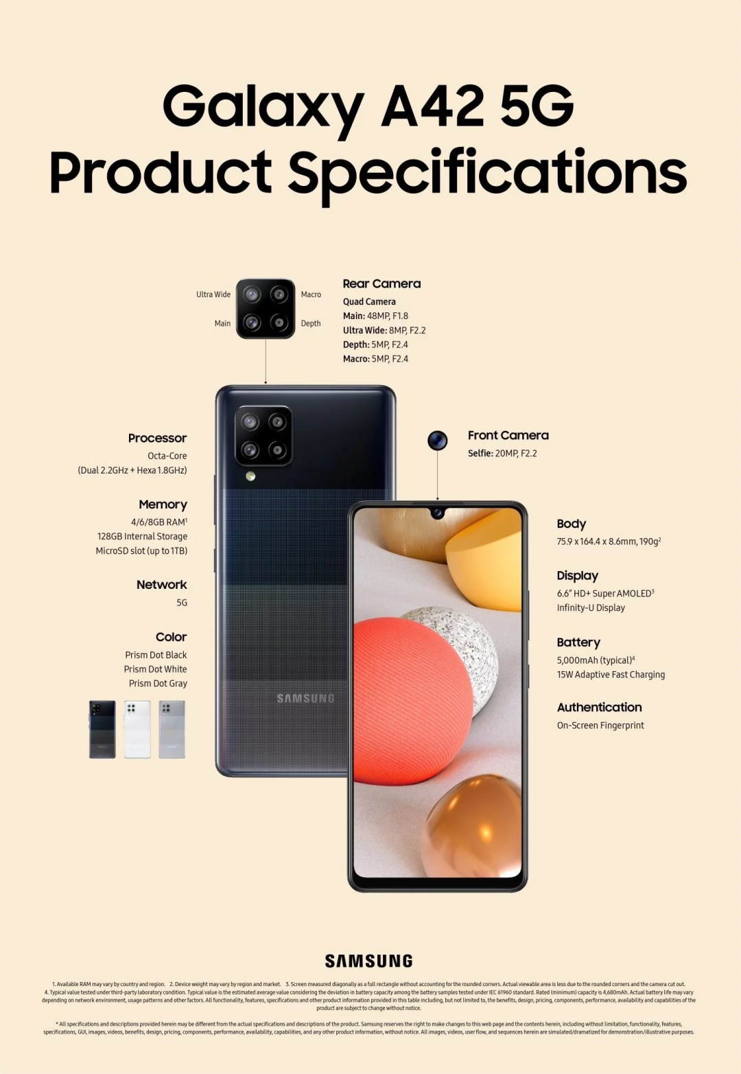 Galaxy A42 5G Specifications