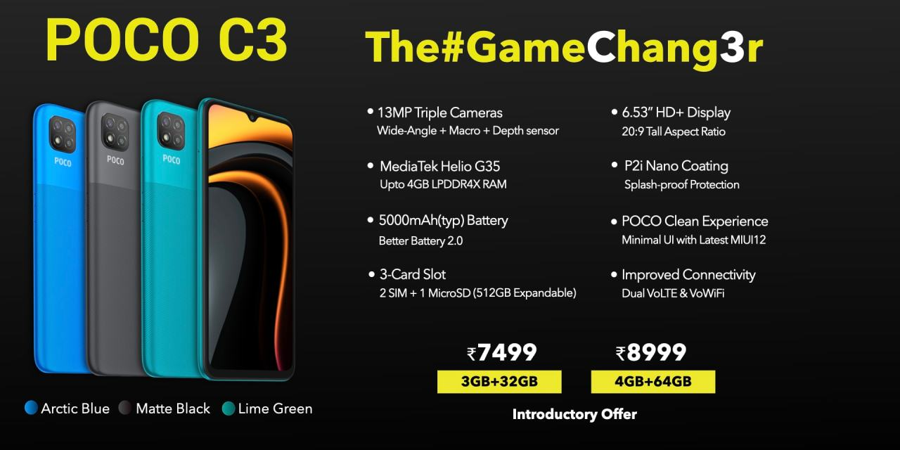 POCO C3 with 6.53-inch display, 5000mAh battery launched in India starting at Rs. 7499