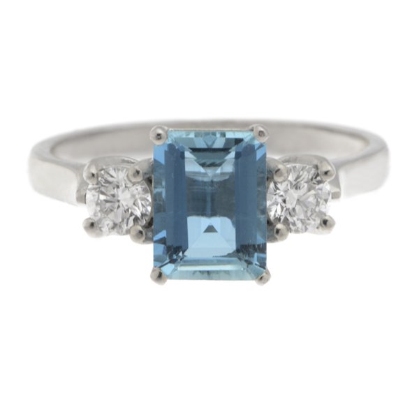 Rosaline Emerald Cut Aquamarine And Round Diamond Trilogy Ring