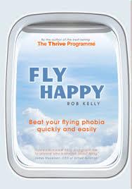 Fly Happy logo on an plane window