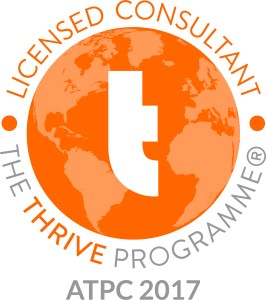 Licensed Thrive Consultant logo showing a lower case t on an orange globe background