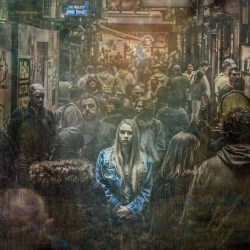 Painting of a lonely girl in the middle of a crowd