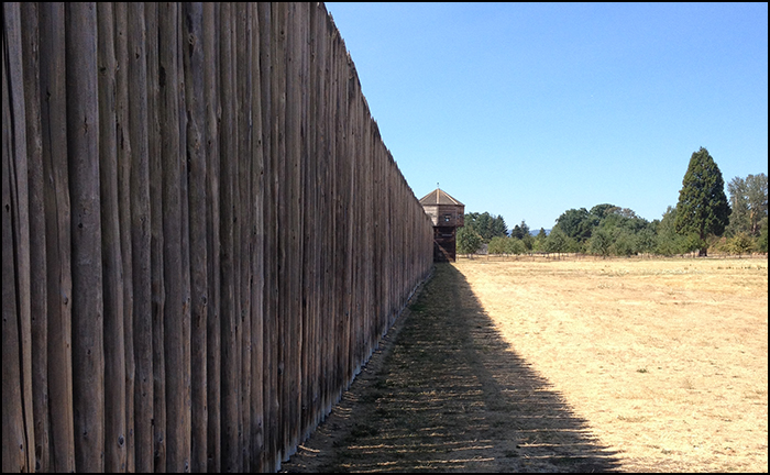 Fort Victoria was constructed to the same plan as the fort it replaced, Fort Vancouver on the northern shore of the Columbia River in Washington State. The State built a replica of Fort Vancouver. This is a photograph of that replica.