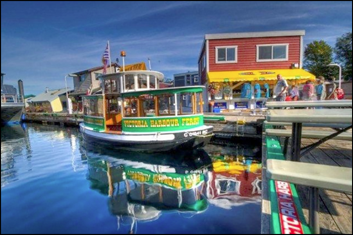 One of the Victoria Harbour Ferry fleet alongside at Fisherman's Wharf.
