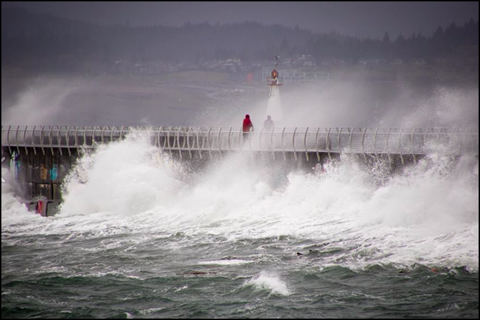 Today's breakwater during a winter storm
