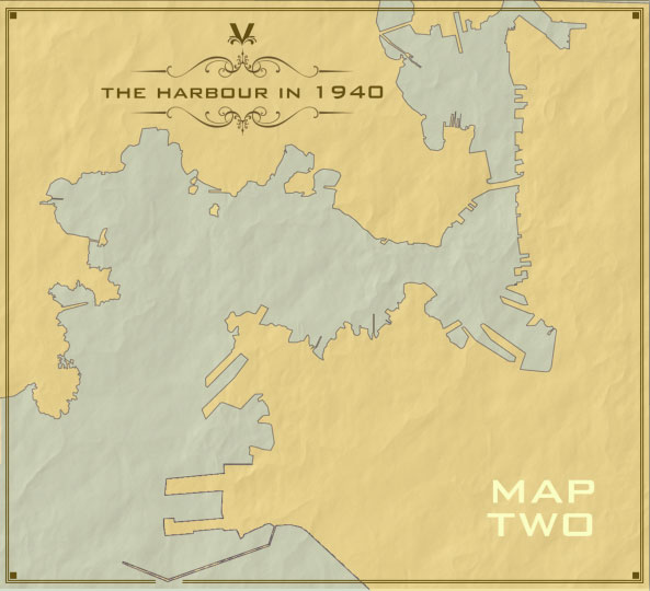 A map illustrating the piers and wharves that once ringed the harbour.