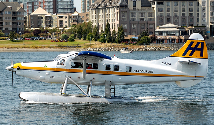 One of Harbour Air's fleet of DeHavilland Otters taxiing on Victoria's Inner Harbour
