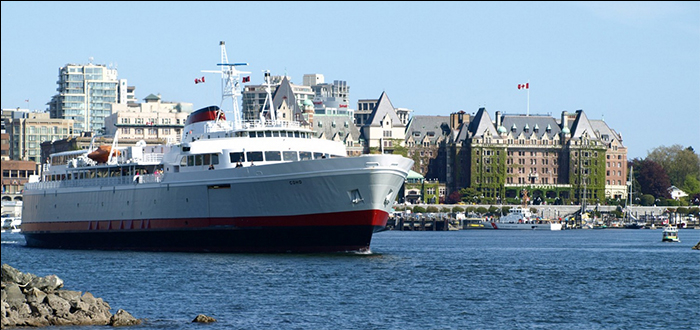 MV Coho departing Victoria's Inner Harbour for Port Angeles, Washington State. Photo courtesy of Lotus Land Real Estate.