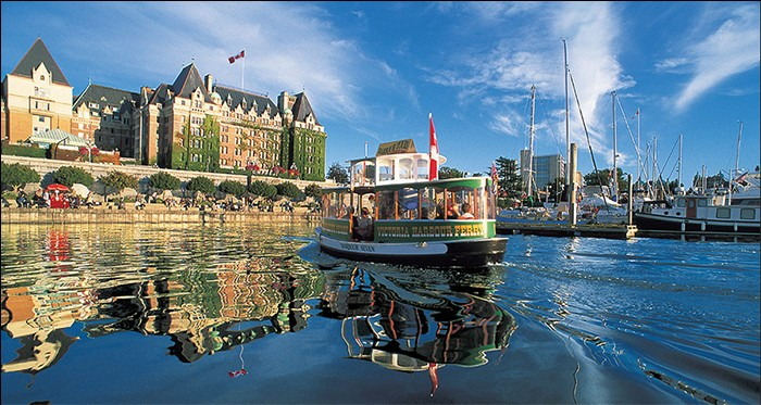 One of the Victoria Harbour Ferry fleet approaching the Inner Harbour floats. Photo courtesy of Explore BC
